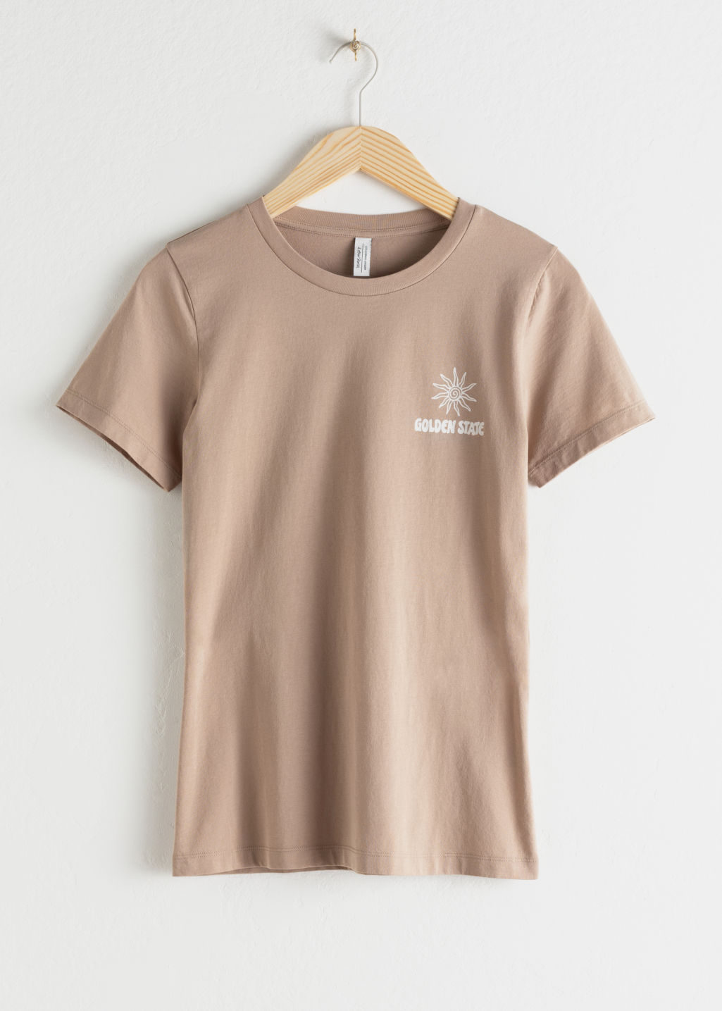 Front image of Stories sunset graphic tee in beige