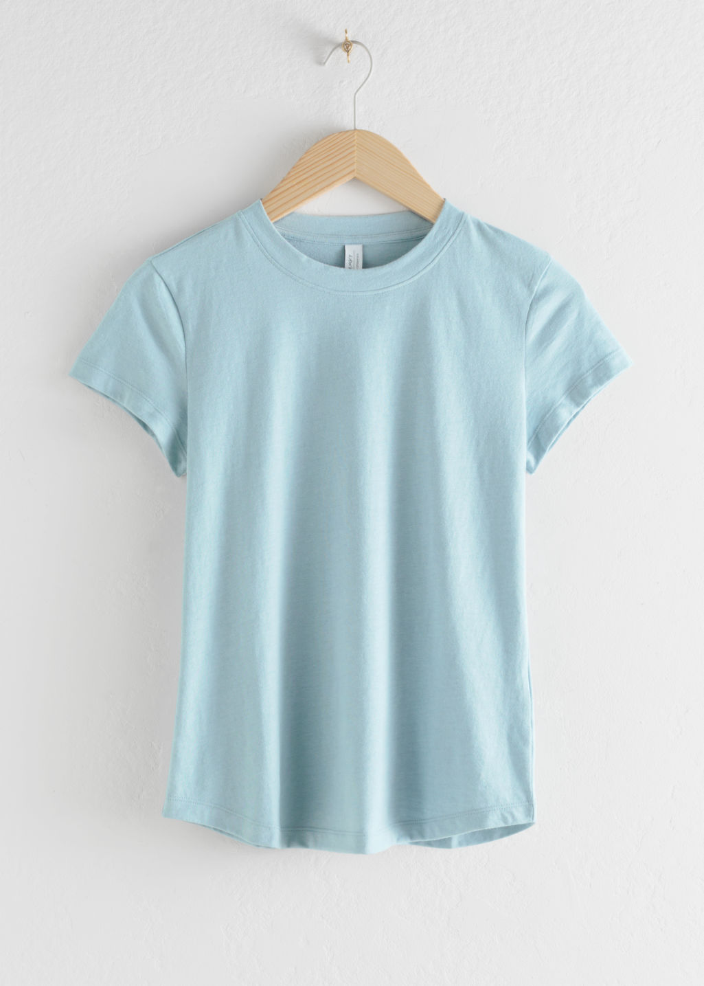 Front image of Stories cotton blend tee in turquoise