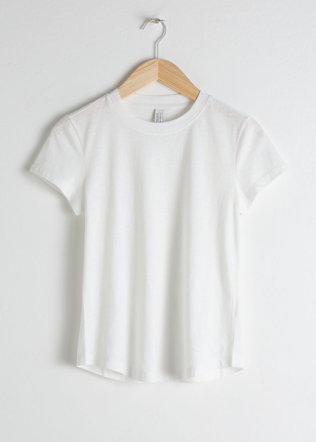 Front image of Stories cotton blend tee in white
