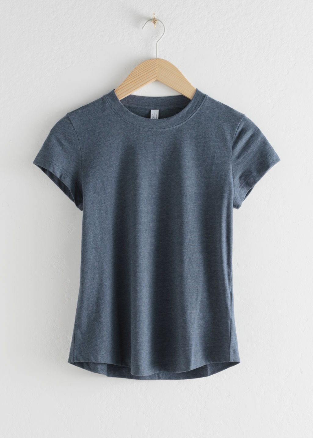 Front image of Stories cotton blend tee in blue