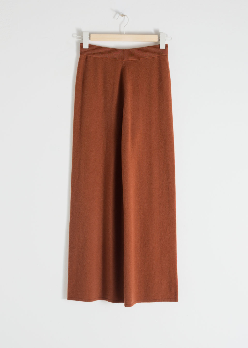 Front image of Stories cashmere knit lounge trousers in brown