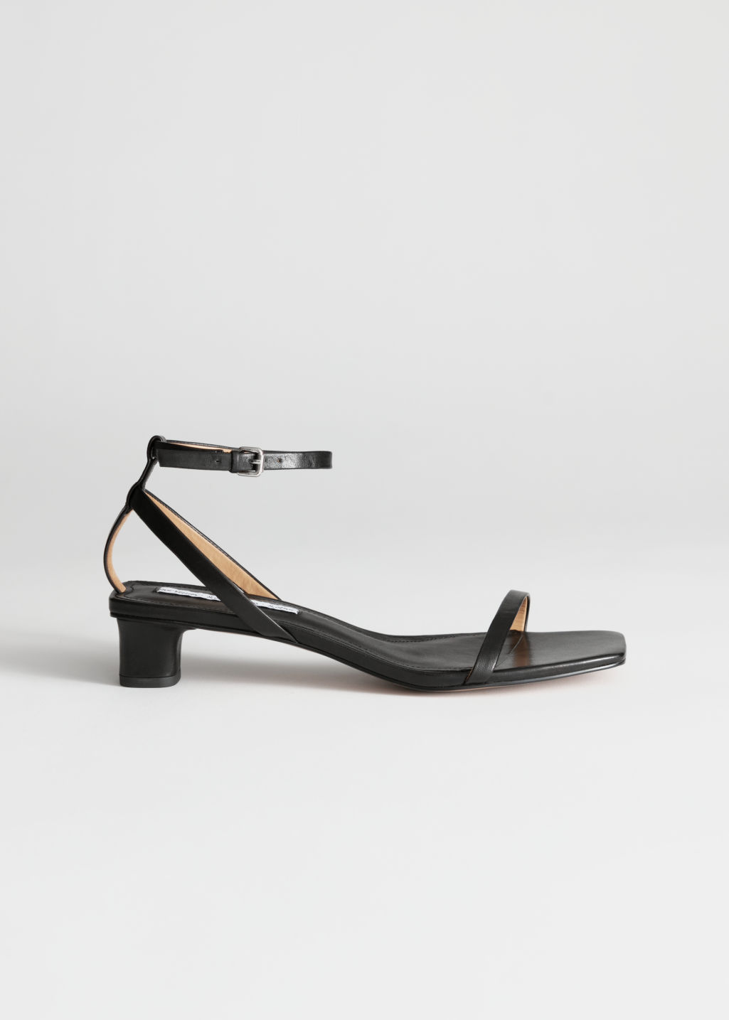 StillLife Front Image of Stories Leather Kitten Heel Sandals in Black