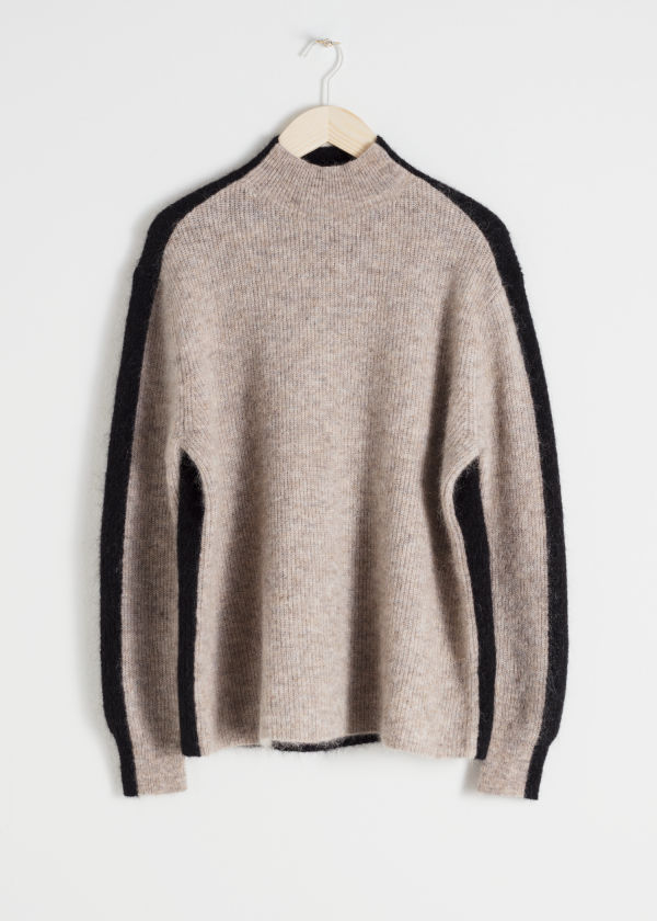 Front image of Stories mock neck colour block sweater in beige