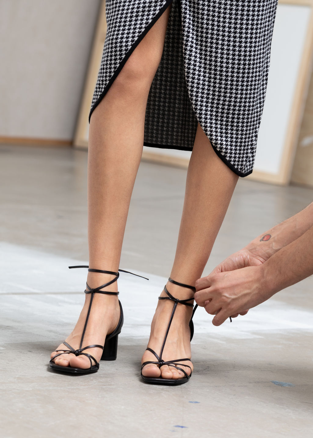 Back image of Stories square toe lace up heeled sandals in black