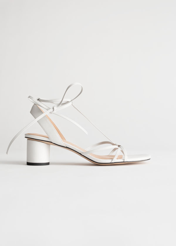 Square Toe Leather Strappy Heeled Sandals