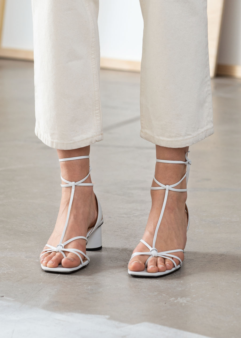 Back image of Stories square toe lace up heeled sandals in white
