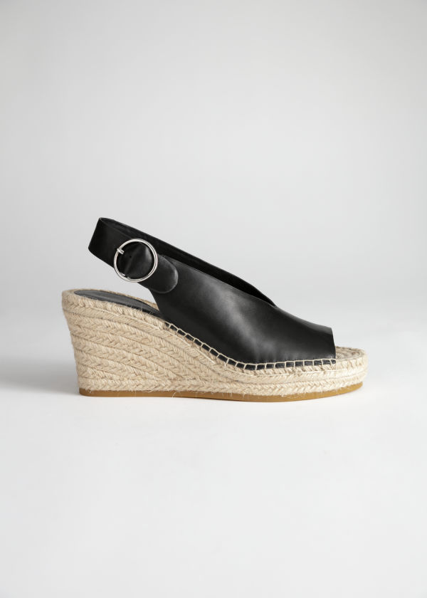 reputable site 22918 aa3cd Leather Espadrille Wedges