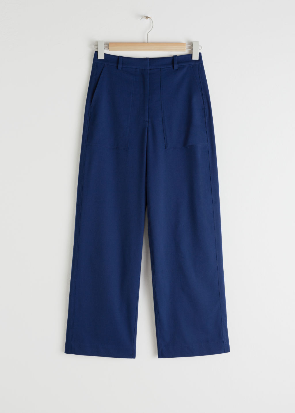 Front image of Stories high waisted relaxed fit trousers in blue