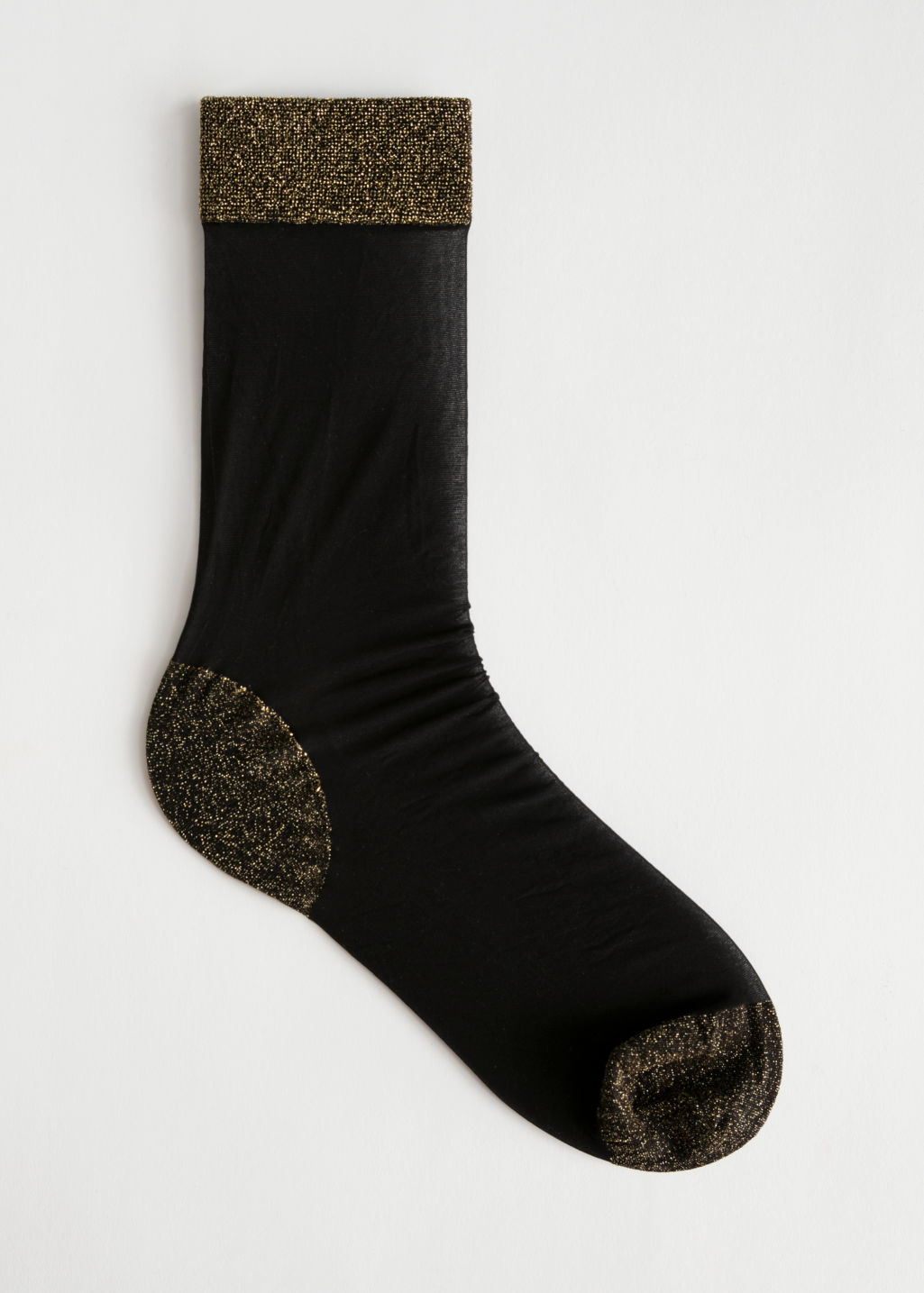Front image of Stories glitter accent ankle socks in black