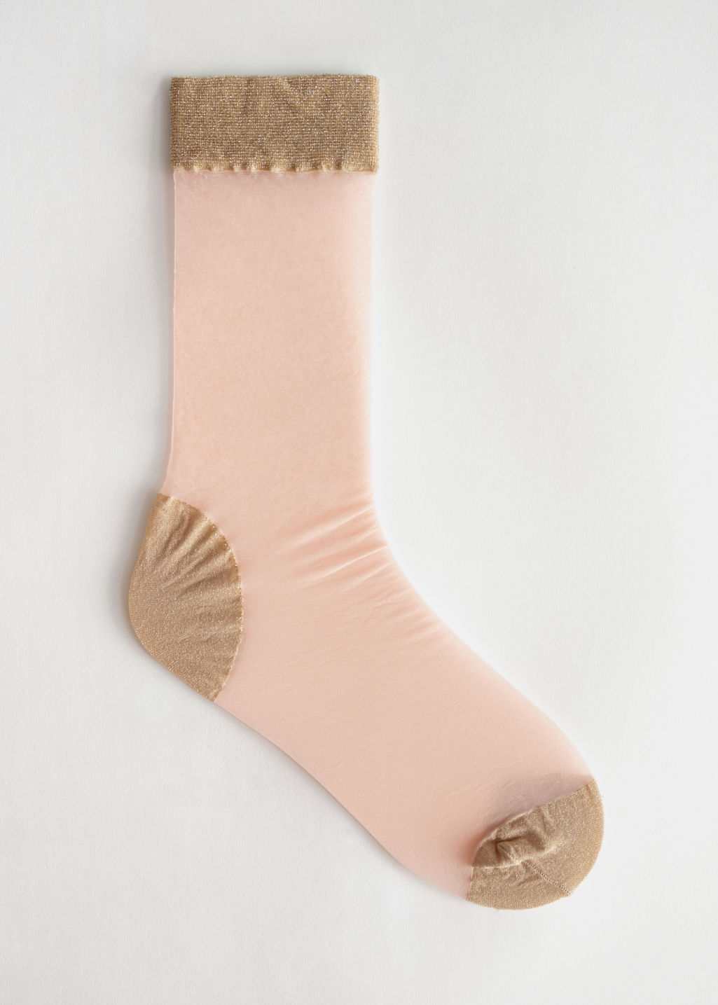 Front image of Stories glitter accent ankle socks in orange