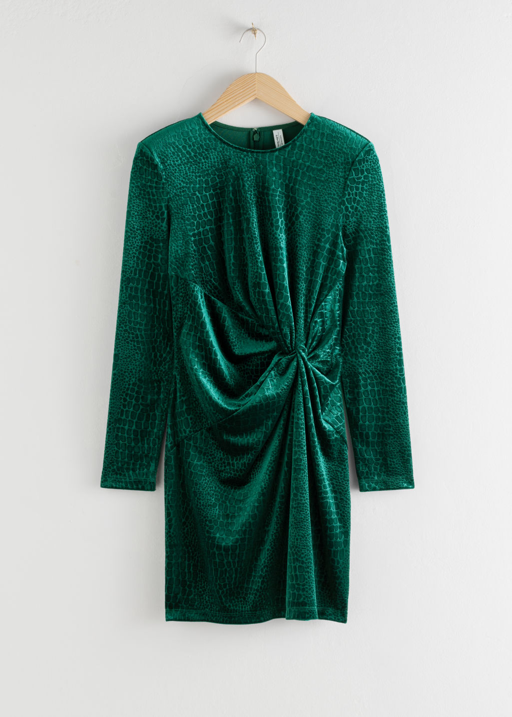 Front image of Stories glitter velour mini dress in green