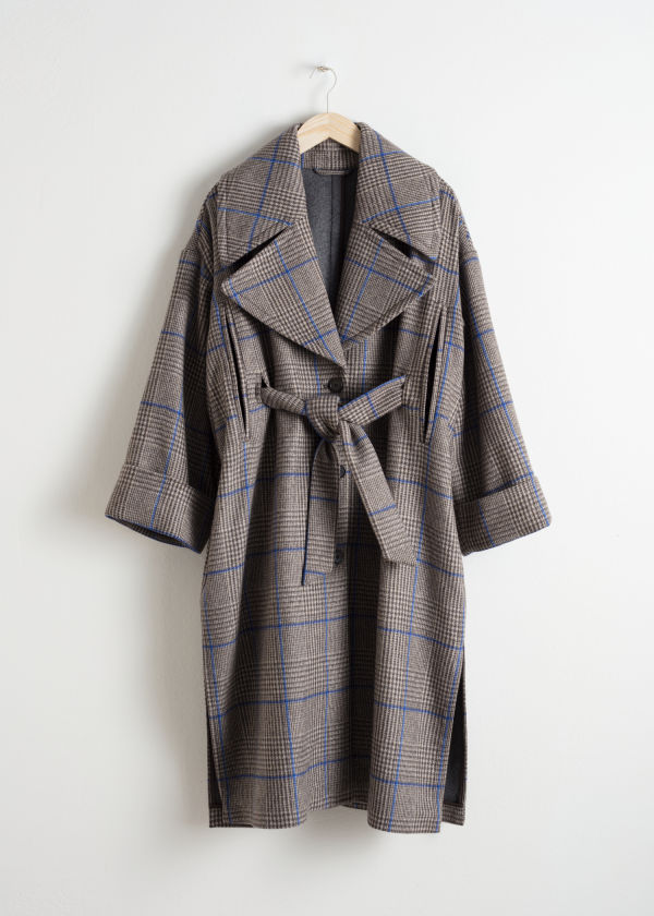 Belted Plaid Coat Cape