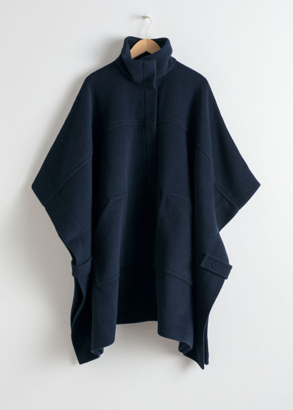 Front image of Stories wool blend workwear cape in blue