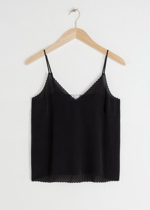 Front image of Stories scalloped silk tank top in black