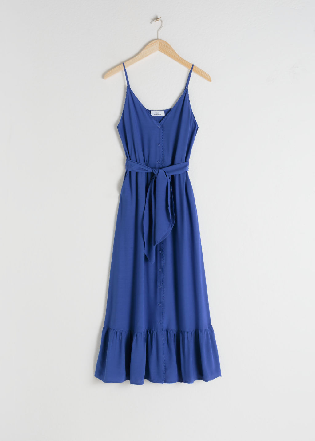 Front image of Stories belted button up midi dress in blue