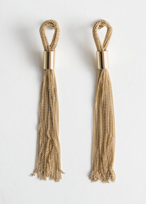 Front image of Stories chain fringe hanging earrings in gold
