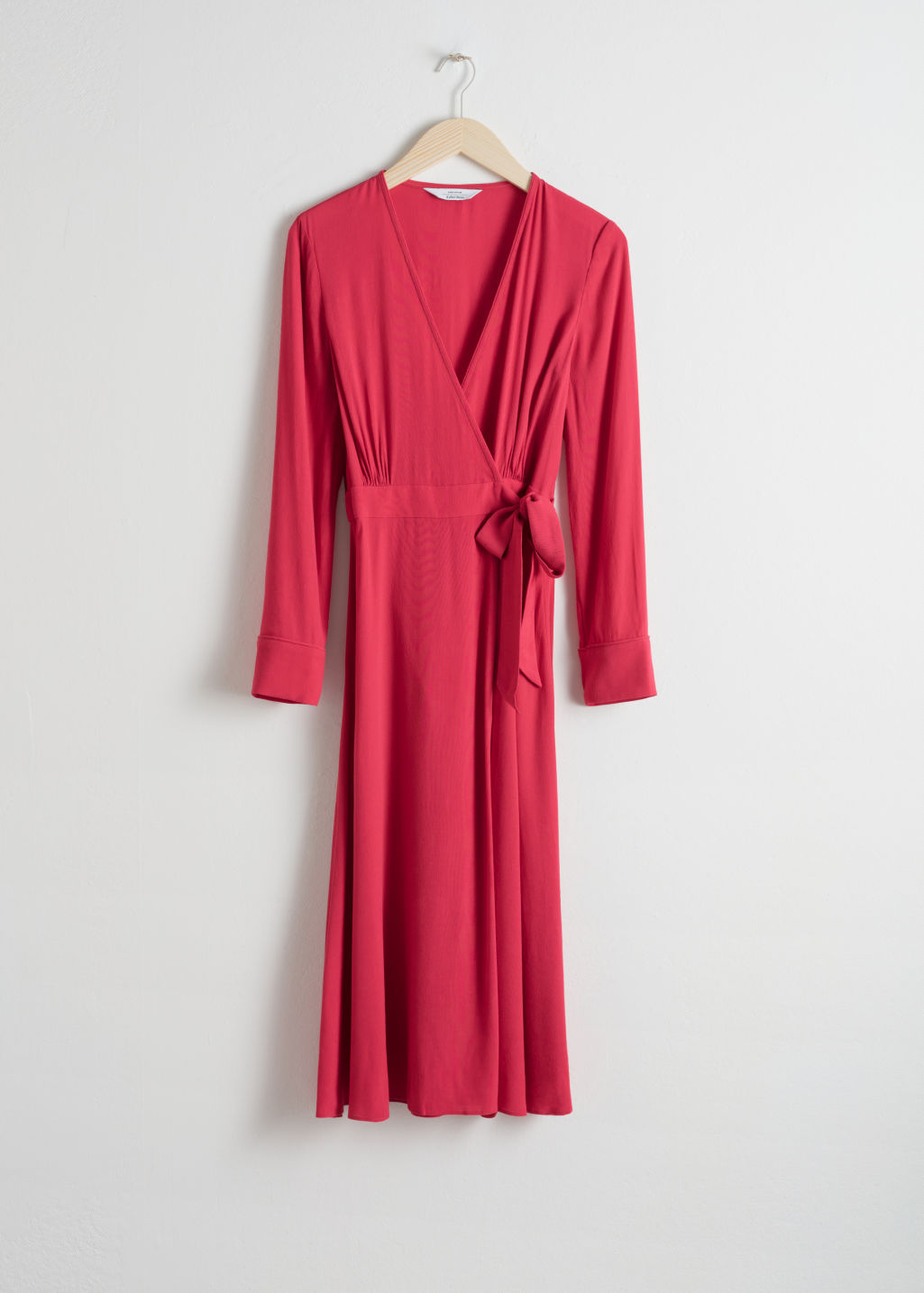 StillLife Front Image of Stories Midi Wrap Dress in Red