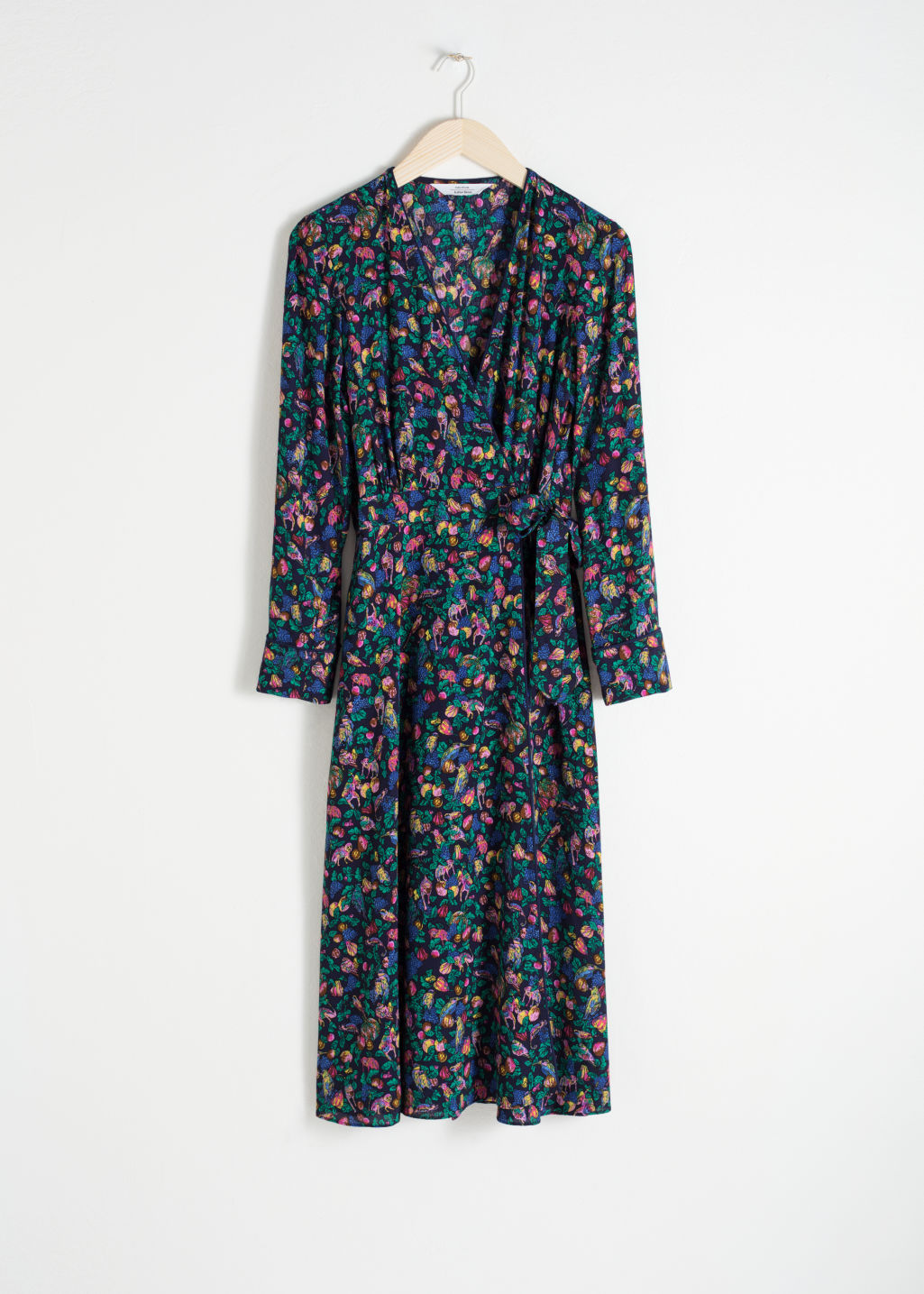 Front image of Stories midi wrap dress in blue