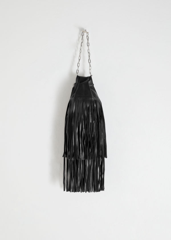 Leather Fringe Chain Clutch