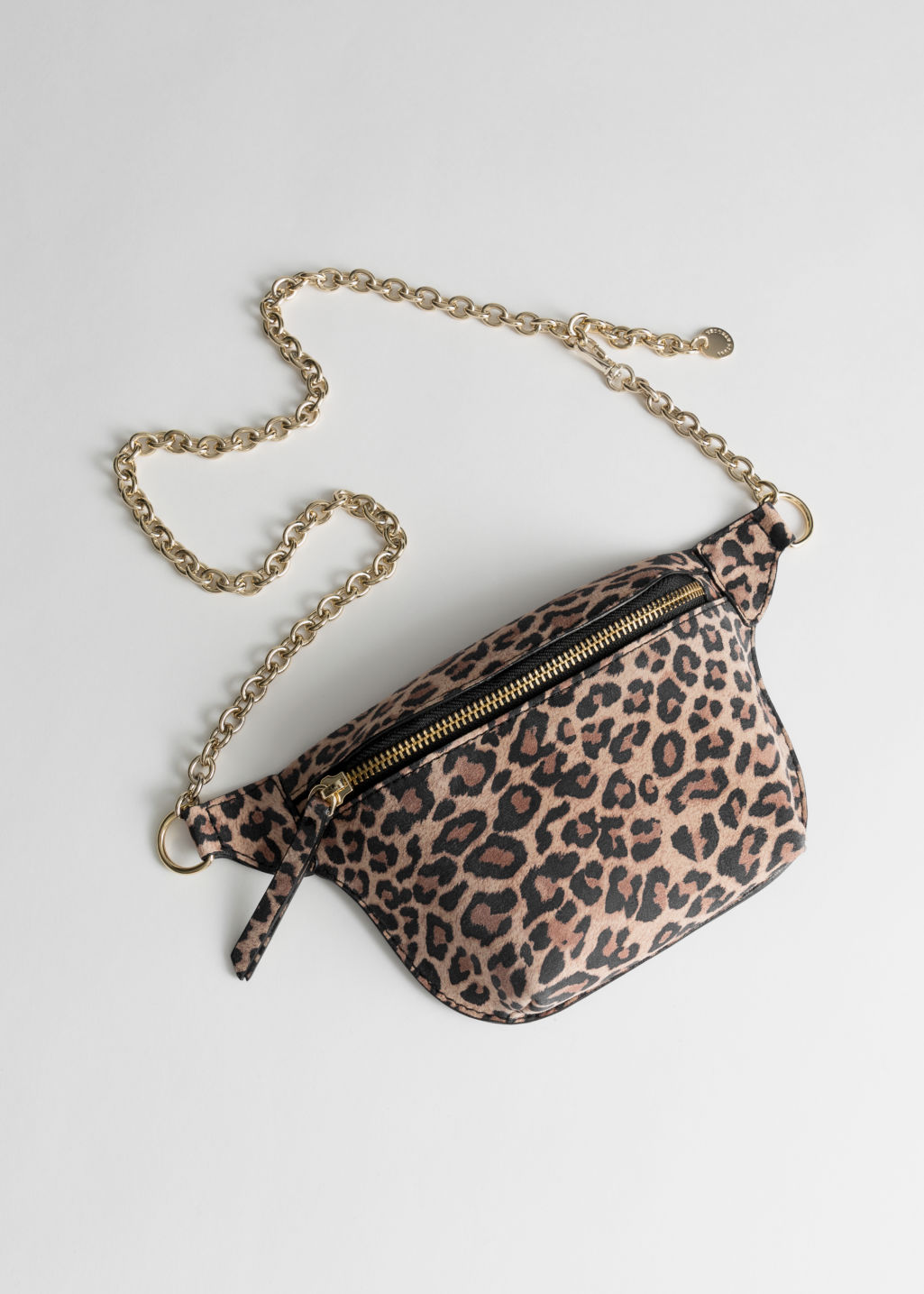 Front image of Stories leopard chain beltbag in beige