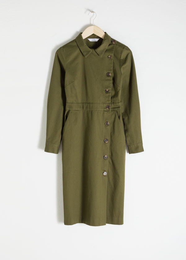 Cotton Utilitarian Midi Dress