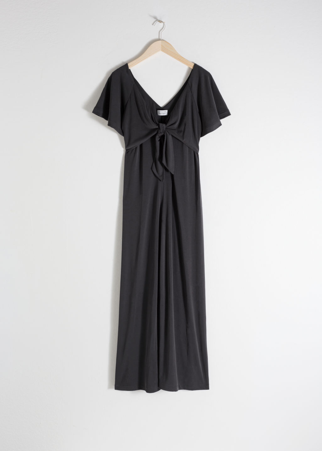 Front image of Stories tie up midi dress in black
