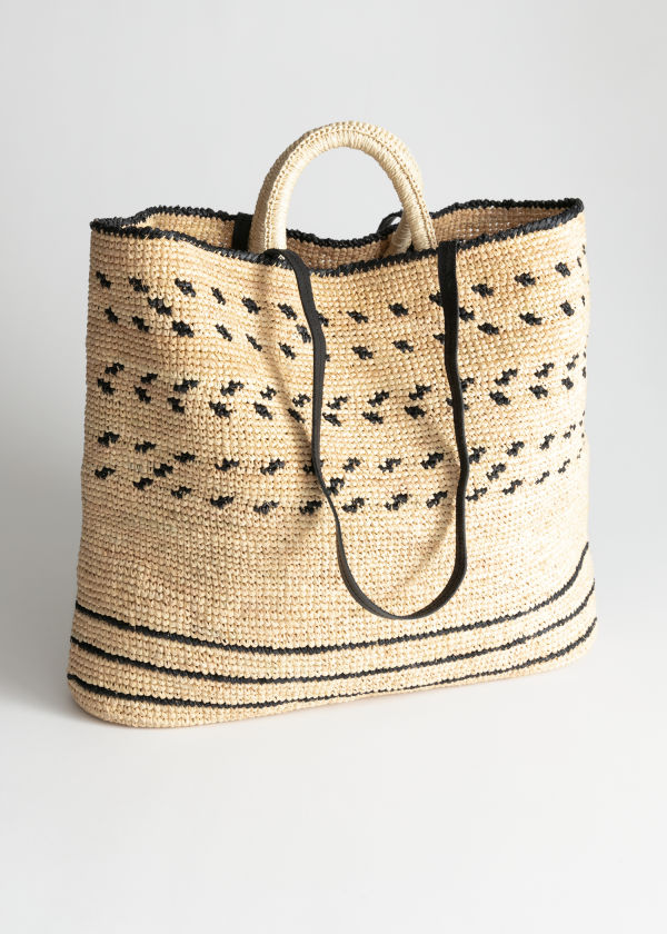 Graphic Straw Tote Bag