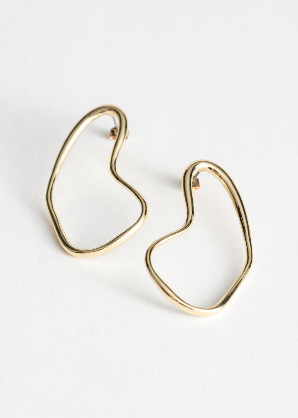 Curved Wire Frame Earrings