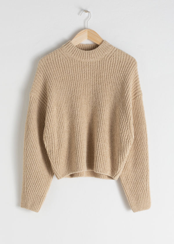 Cotton Blend Rib Knit Sweater