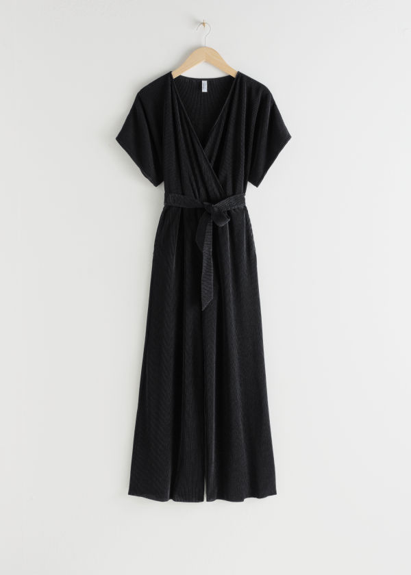 Plissé Pleated Wrap Jumpsuit