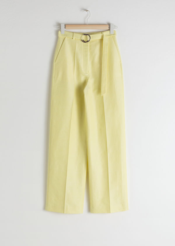 Front image of Stories belted cotton linen blend trousers in yellow