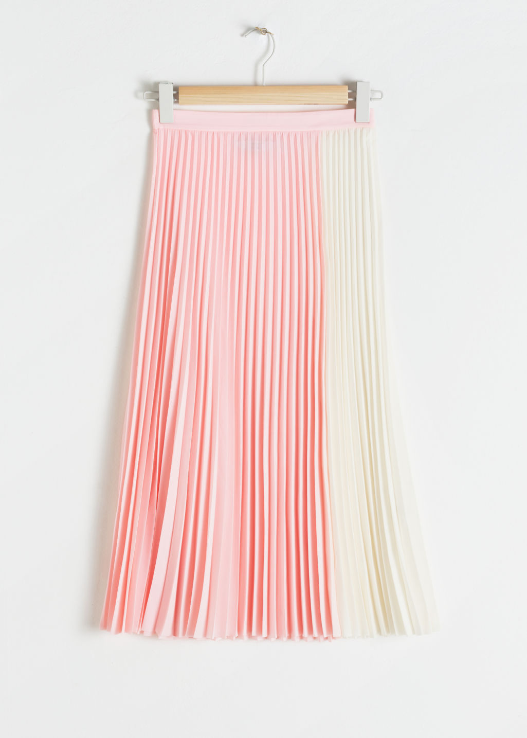 Front image of Stories duo toned pleated midi skirt in pink