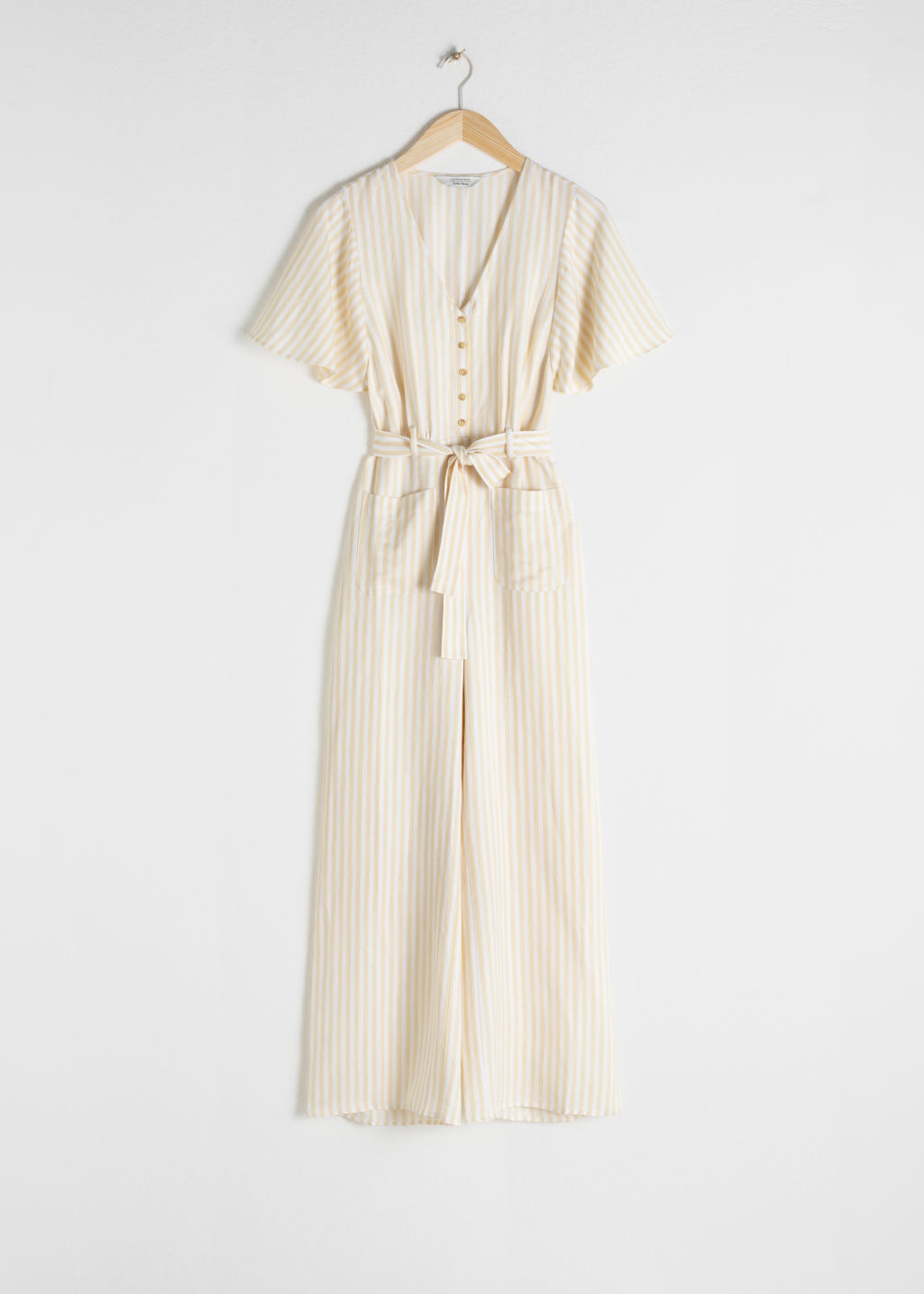 Front image of Stories linen blend jumpsuit in yellow