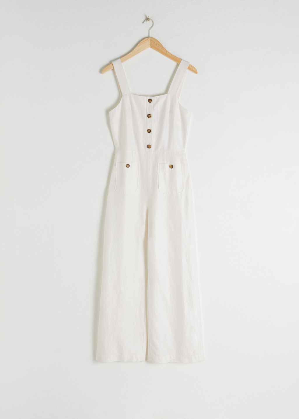StillLife Front Image of Stories Linen Blend Kick Flare Jumpsuit in White