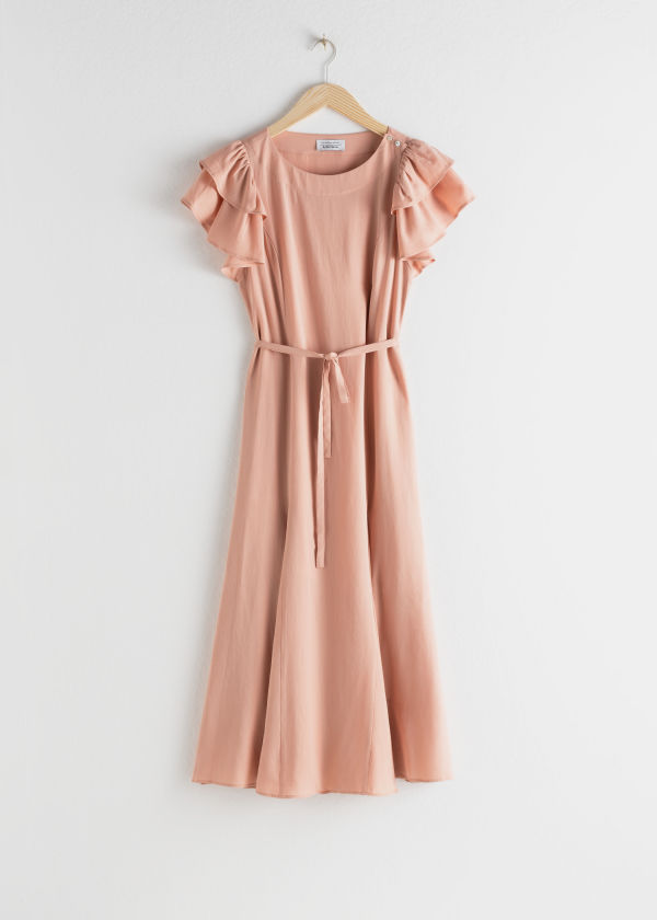 Front image of Stories ruffled sleeve midi dress in beige