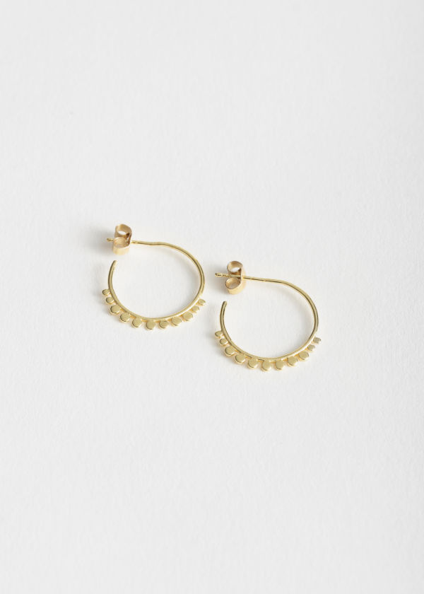 Sterling Silver Circle Charm Hoop Earrings