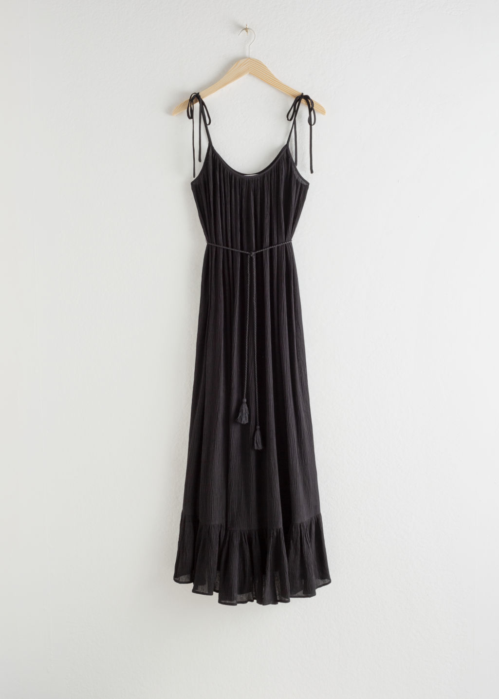 Front image of Stories gathered maxi dress in black