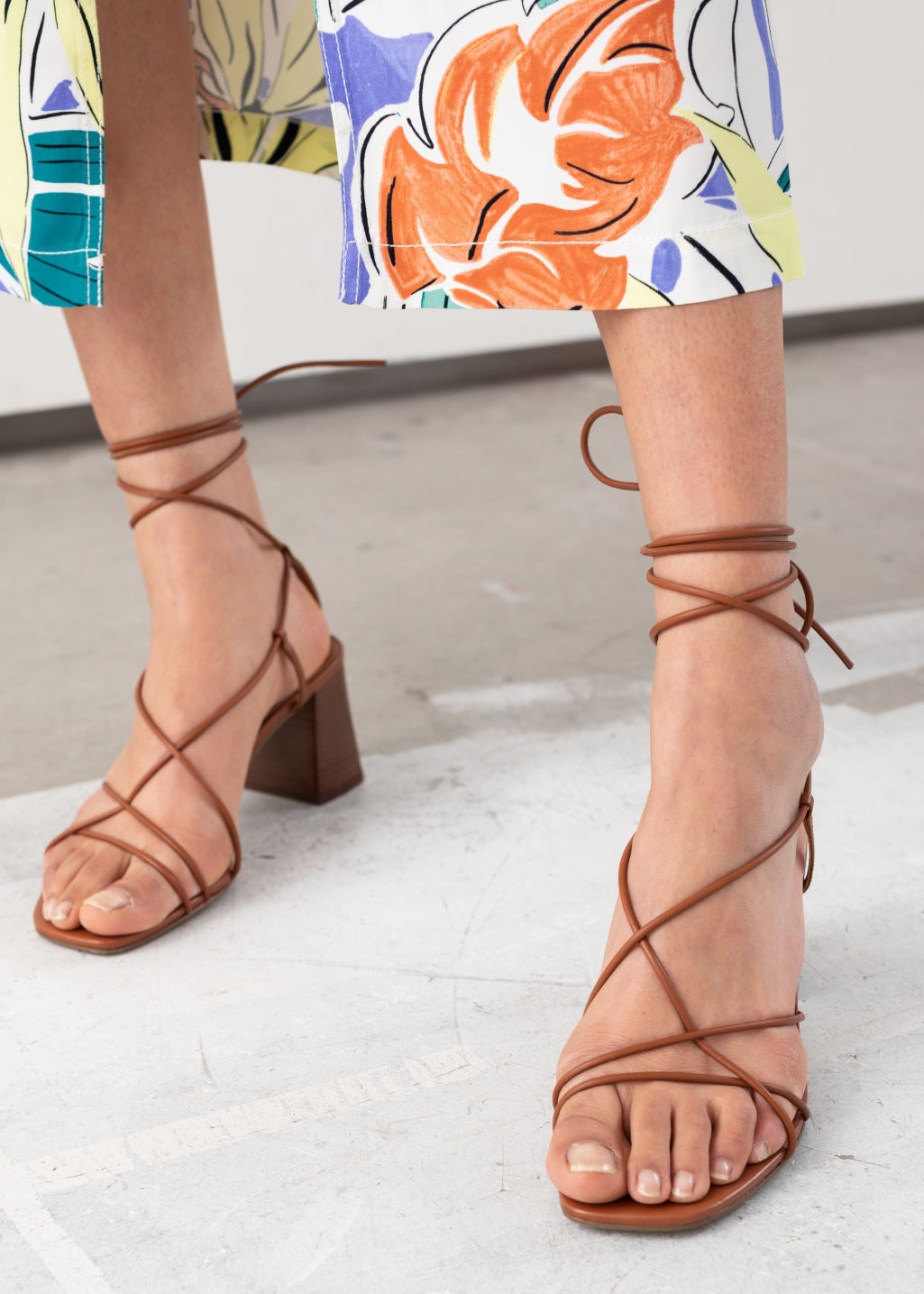StillLife Back Image of Stories Leather Strappy Lace Up Heeled Sandals in Orange