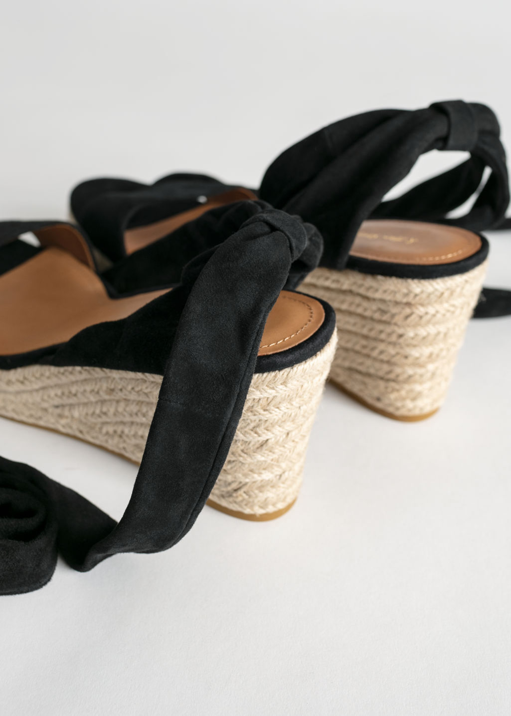 Back image of Stories suede lace up espadrille wedges in black