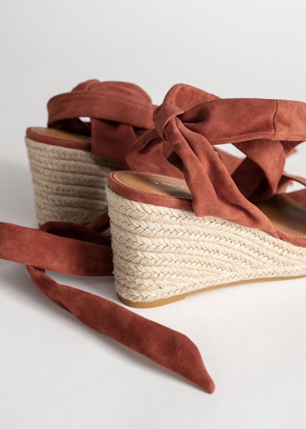 Back image of Stories suede lace up espadrille wedges in orange