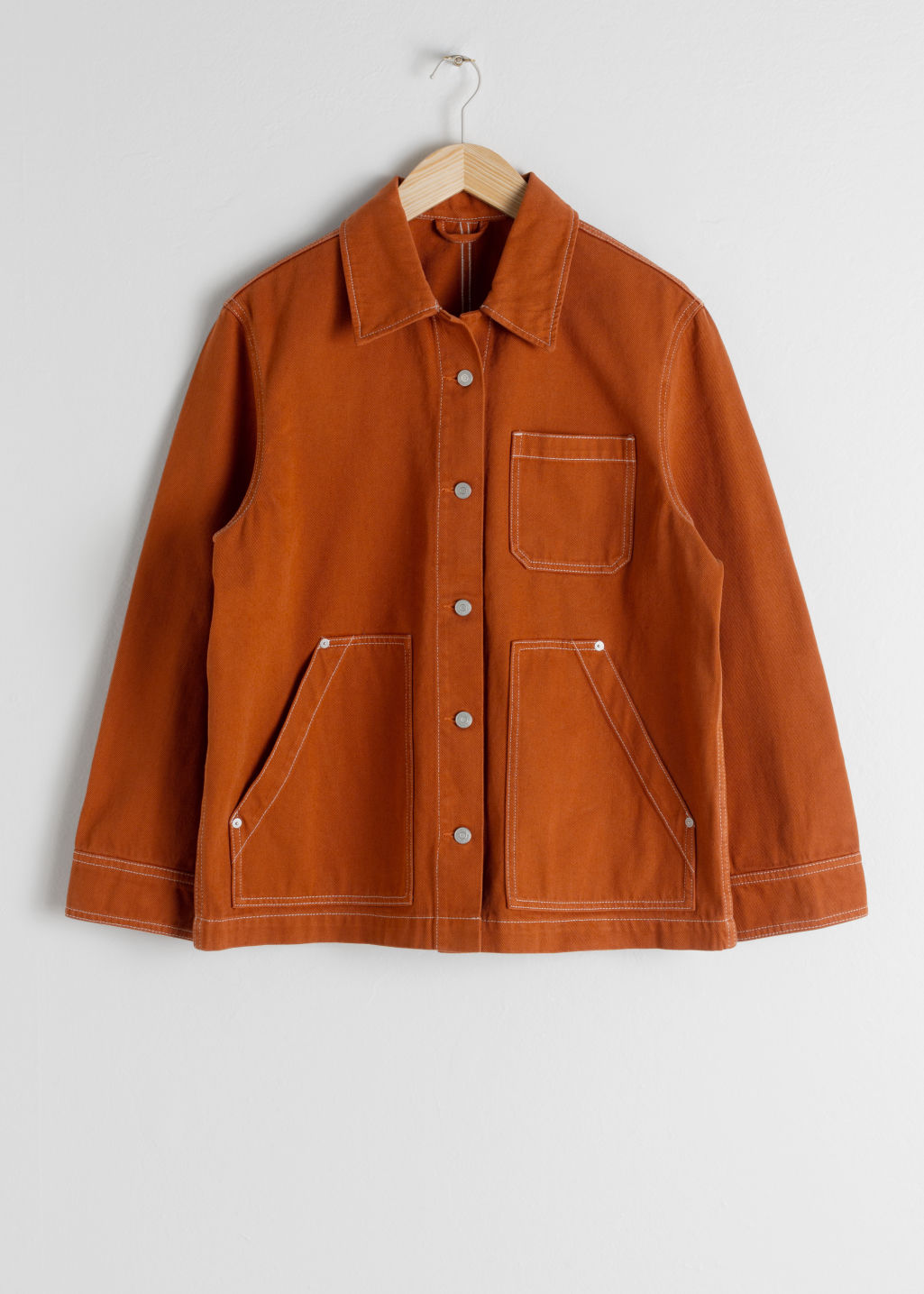 StillLife Front Image of Stories Denim Workwear Jacket in Orange