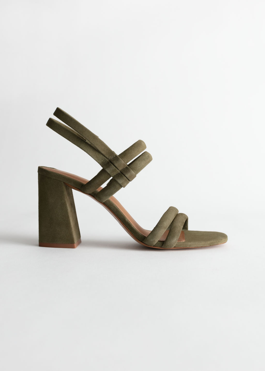Front image of Stories suede slingback heeled sandals in green