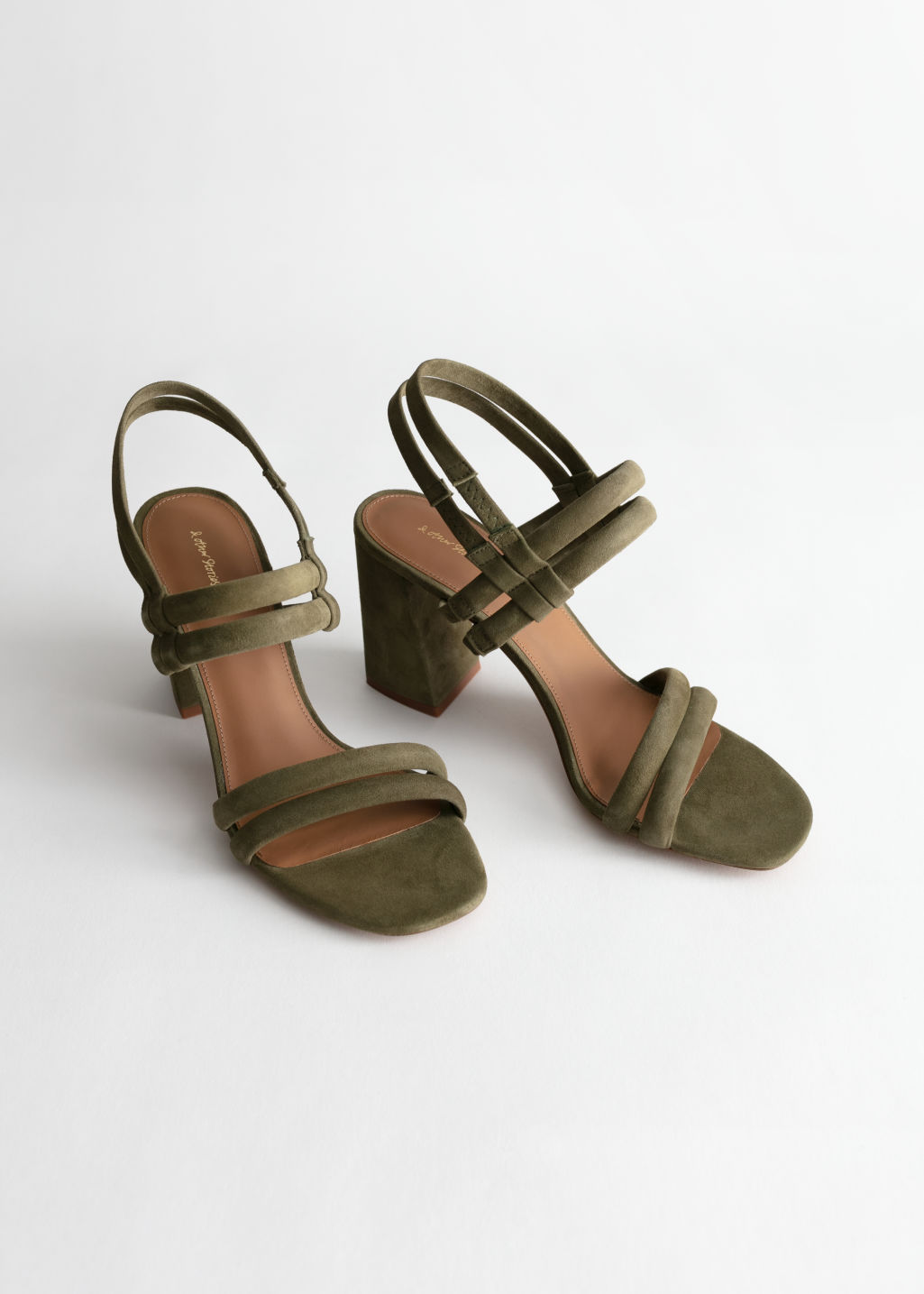 Back image of Stories suede slingback heeled sandals in green