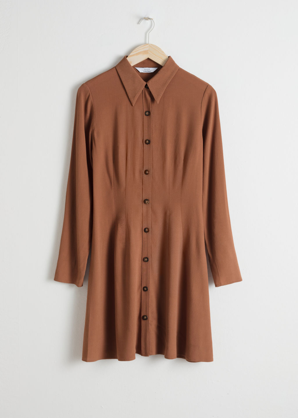 Front image of Stories fitted shirt dress in brown