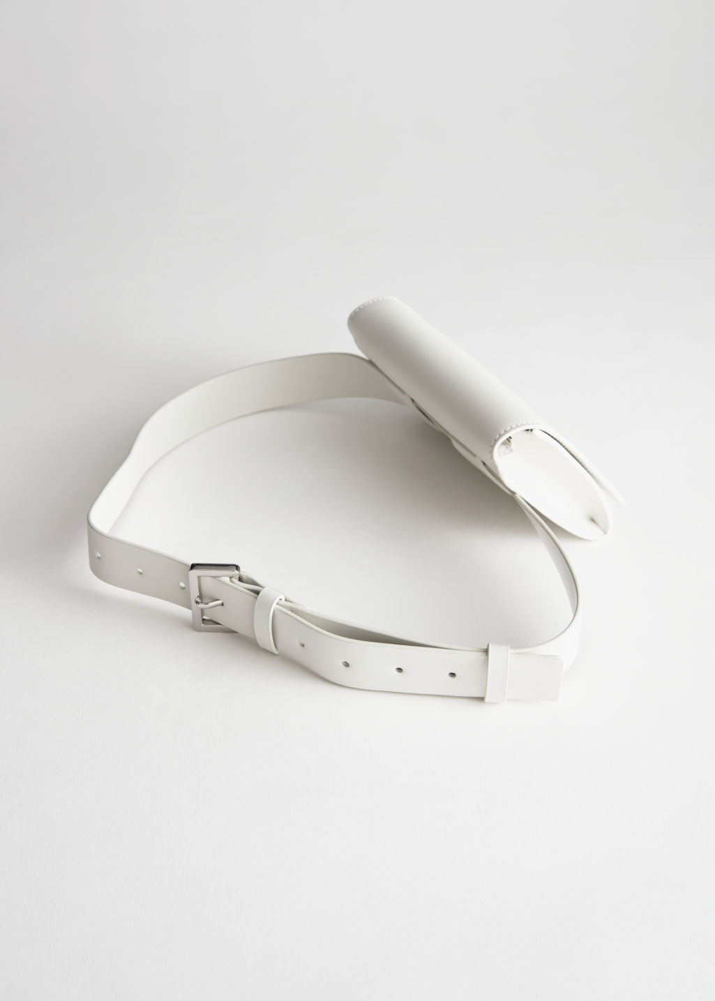 Back image of Stories leather beltbag in white