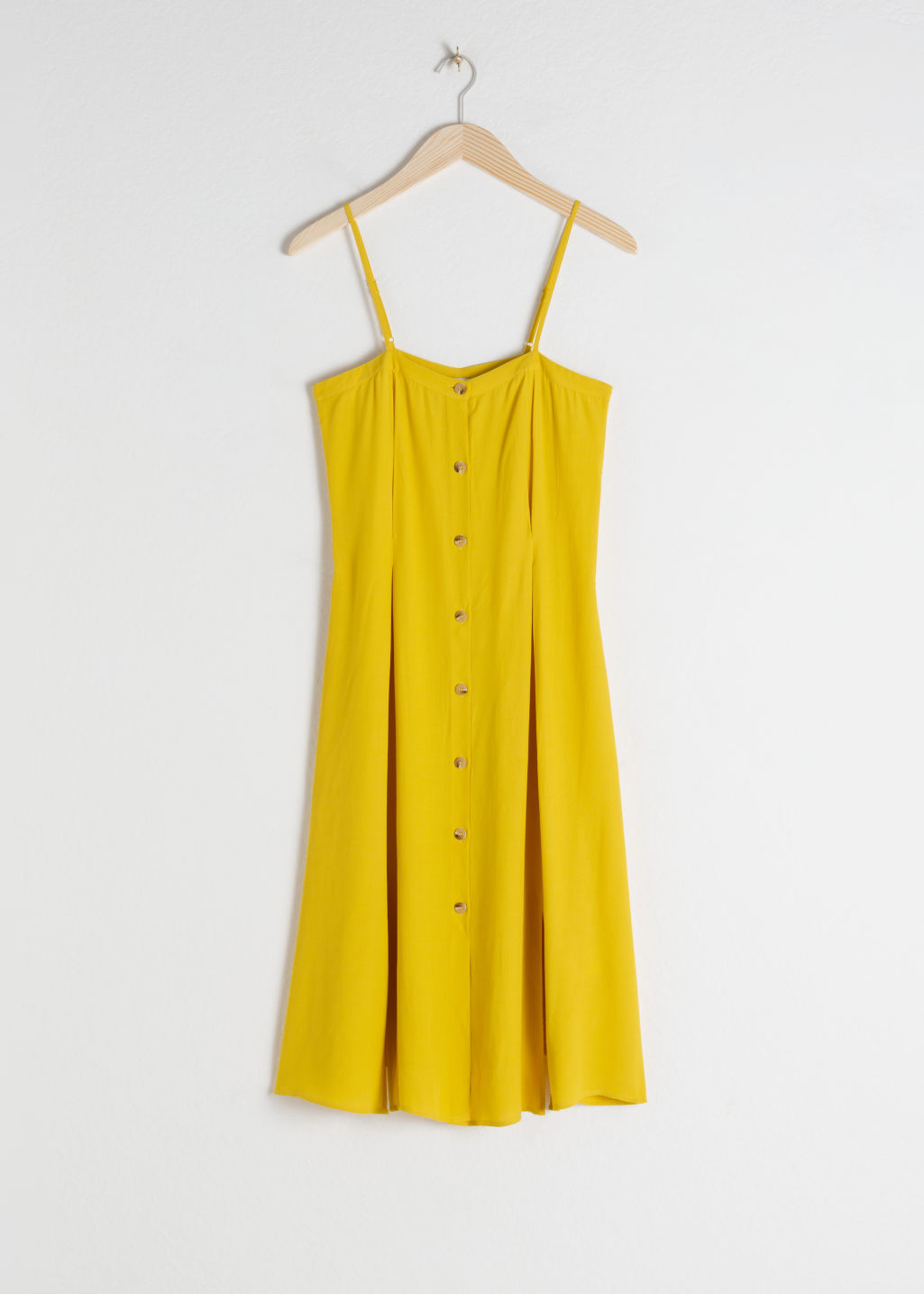 Front image of Stories square neck button up midi dress in yellow
