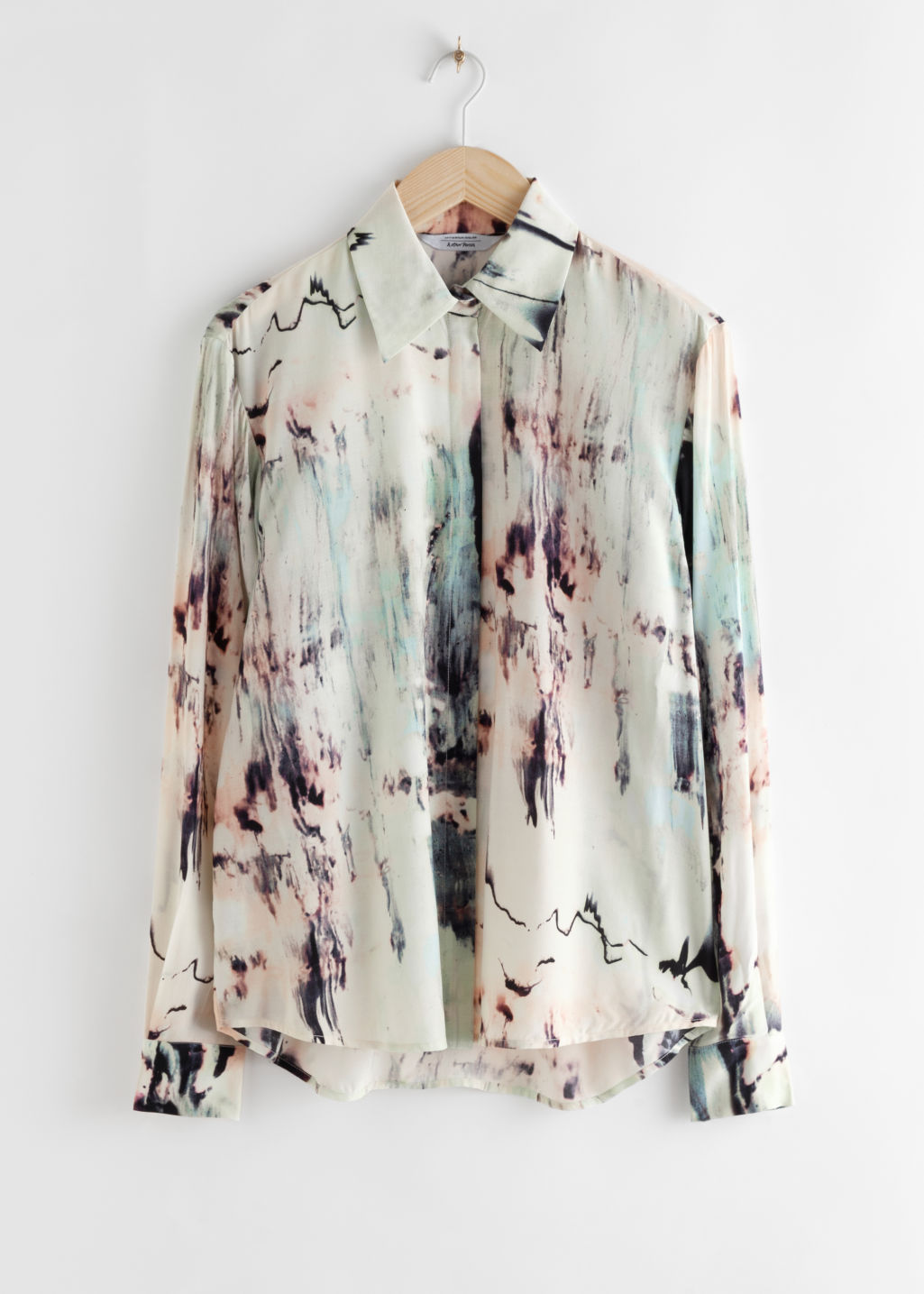 Front image of Stories printed button up shirt in beige