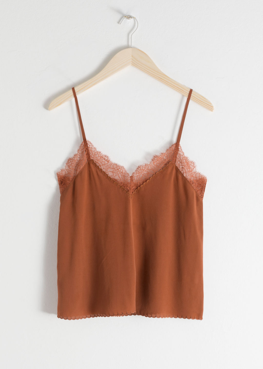 Front image of Stories silk slip top in brown
