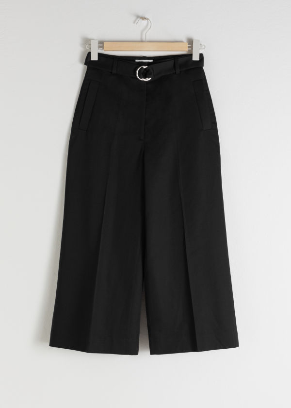 Cropped Cotton Blend Belted Trousers
