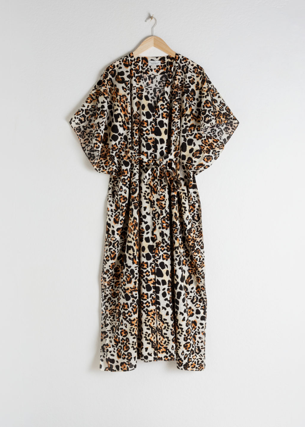 StillLife Front Image of Stories Leopard Print Cotton Kaftan in White
